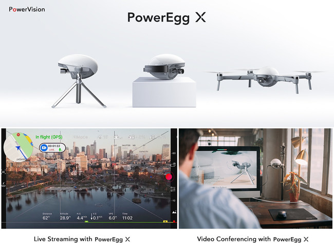 Live streaming in drone mode and video conferencing in AI camera mode