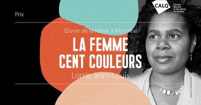 Lorrie Jean-Louis, lauréate du prix du CALQ - Oeuvre de la relève à Montréal. photo : Étienne Bienvenu (Groupe CNW/Conseil des arts et des lettres du Québec)