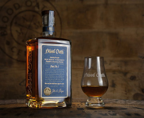 Lux Row Distillers is launching Blood Oath Pact 7 Kentucky Straight Bourbon Whiskey. Finished in Sauternes casks, Pact 7 is the latest in a series of Kentucky straight bourbon whiskey blends created by Lux Row Master Distiller John Rempe.