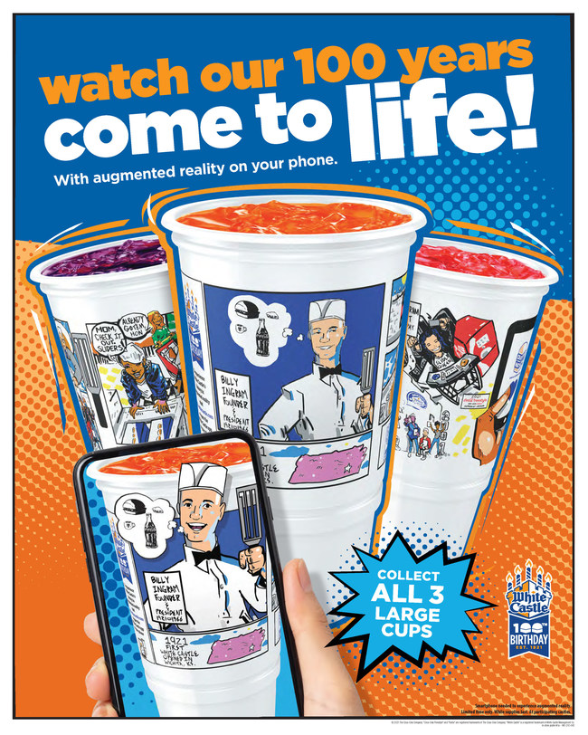 White Castle, in collaboration with Coca-Cola, has introduced a set of three collectible augmented reality soft drink cups to commemorate its 100th birthday and 100-year partnership with Coca-Cola. Designed by Columbus, Ohio, artist Bryan Moss, the cups come alive with sound and motion when viewed through a smartphone.