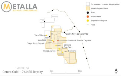 CentroGold Royalty Map (CNW Group/Metalla Royalty and Streaming Ltd.)