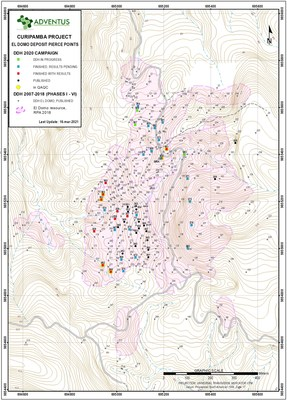 El Domo - Plan Map Drill Collar Locations as at March 16, 2021 (see News Release) (CNW Group/Adventus Mining Corporation)
