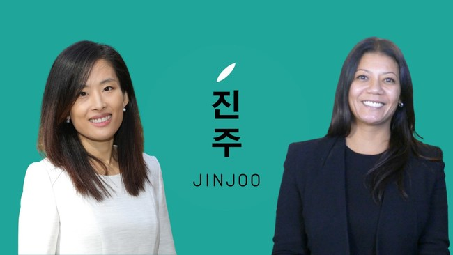 """Rene Shin (Left), the founder of Jinjoo Labs, has always used Korean cosmetics and skincare. Marja Vongerichten (Right), best known for her PBS series, """"Kimchi Chronicles,"""" a travelogue documenting a deep dive into her Korean heritage through food, is Jinjoo's spokesperson and chief brand advocate."""