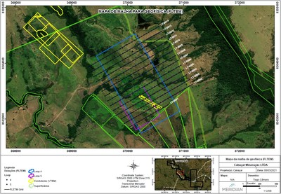 Figure 2: EM Survey area Loop 4 and Loop 5 southern zone of Cabaçal Mine (CNW Group/Meridian Mining S.E.)