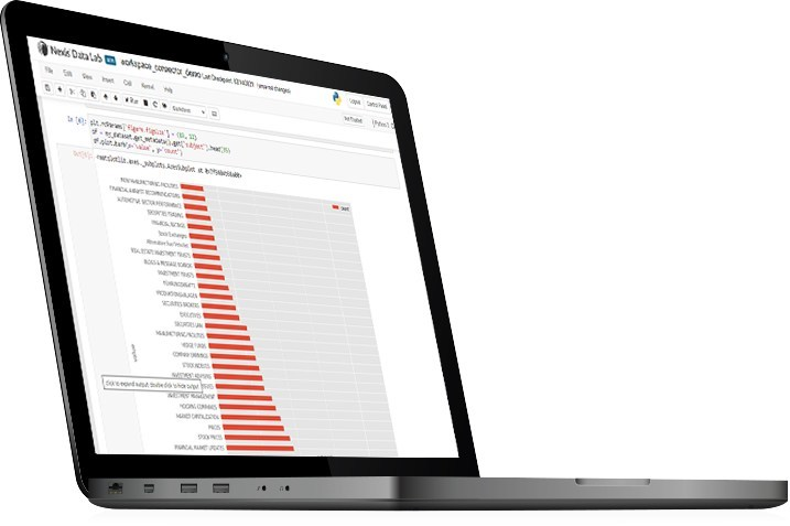 Nexis Data Lab allows users can search, refine, analyze and visualize thousands of documents in mere minutes, all within a secure, end-to-end, cloud-based Jupyter notebook environment.