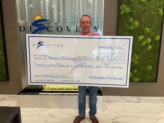 The Discovery Senior Living organization presented a check for $29,600 to the Brevard Alzheimer's Foundation following the 2021 Cycle4ALZ charity event.