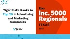 Tiger Pistol Named to the Inc. 5000 List of Texas' Fastest Growing Private Companies for Second Year in a Row
