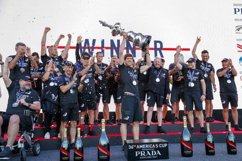 Emirates Team New Zealand celebrating their victory