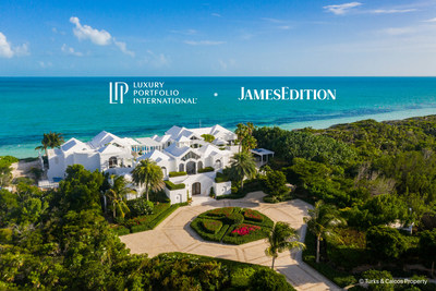 Luxury Portfolio International announces their partnership with JamesEdition for 2021. The image depicts the property Mandalay Estate from Turks & Caicos Property, located along the beautiful Long Bay Beach. Mandalay features seven bedrooms and an award-winning architectural design capturing the essence of open Caribbean living with a masterful layout that revolves around the spectacular multi-level pool with its central lounge, fire pit, and cascading water features.
