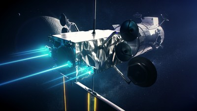 Concept art of Maxar's Power and Propulsion Element with six Hall effect thrusters.
