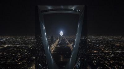 """Koert Vermeulen"" - Star in Motion, 2021 - Steel, aluminium, LED lighting, Automatic lighting, control systems - 625 cm diameter - Courtesy of the artist - Photo © Riyadh Art 2021"