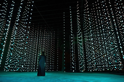 """Squidsoup"" Submergence, 2013-2021 Electronics, LEDs, computers, support structure 768 x 1033 x 447 cm Courtesy the artists and Light Art Collection Photo © Riyadh Art 2021"