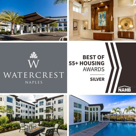 Watercrest Naples Assisted Living and Memory Care selected as a Silver Award winner in the 2021 NAHB Best of 55+ Housing Awards.