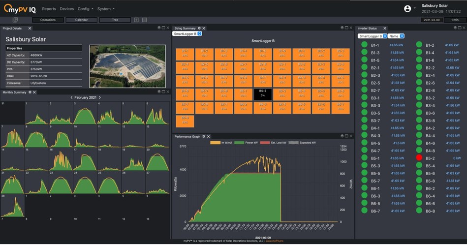 myPV IQ™ is a monitoring platform which provides real-time data for technicians, high-resolution 1-minute-interval data for trending, comprehensive views of connected equipment, and custom reporting for download or integration with RESTful JSON Web API, Modbus TCP, and OPC UA, and more.