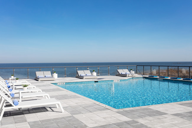 The bayfront pool at Delta Hotels by Marriott Virginia Beach Bayfront Suites