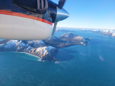 NRL's Scientific Development Squadron (VXS) 1 and Ocean Sciences Division researchers onboard the UV-18 Twin Otter fly over the Chugach Islands Jan. 31 to determine ocean bubble fields using the NRL lidar and multiwavelength camera. (U.S. Navy photo by Lt. Alex Christie)