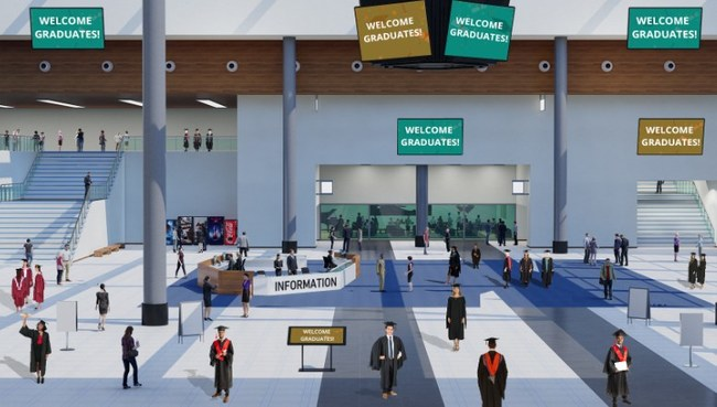A sample of a user-friendly 3D virtual lobby for virtual graduation ceremonies, featuring custom avatars and space for school branding.