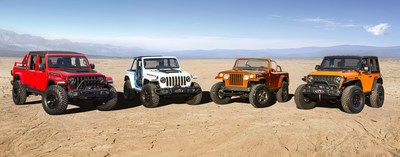 The Jeep® brand and Jeep Performance Parts team again join forces to create a lineup of custom-built concept vehicles to conquer the iconic trails in Moab, Utah, during the 2021 Easter Jeep Safari March 27 to April 4. Four new concept vehicles with advanced powertrains and legendary Jeep 4x4 capability are set to debut, including (left to right) Jeep Red Bare, Jeep Magneto, Jeepster Beach and Jeep Orange Peelz.
