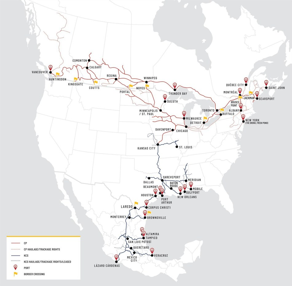 Combined Network Map: Creating the First U.S.-Mexico-Canada Rail Network (CNW Group/Canadian Pacific)