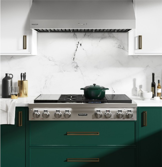 The only pro rangetop on the market to include built-in sous vide, four gas burners, as well as two-zone induction.