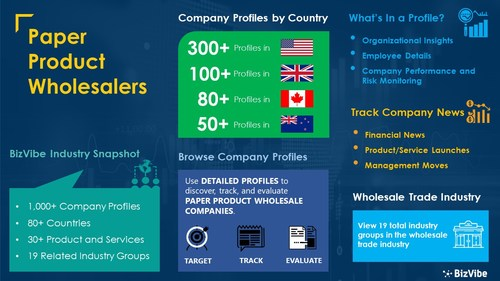 Snapshot of BizVibe's paper product wholesalers industry group and product categories.