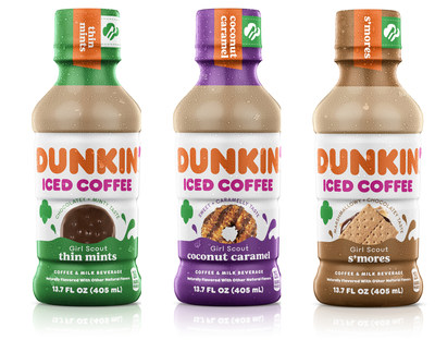 Dunkin' Iced Coffee in Girl Scout Cookie inspired flavors includes Thin Mints, Coconut Caramel and S'mores.