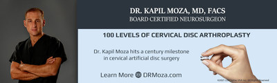 Dr. Kapil Moza, a fellowship trained and board certified neurosurgeon, has reached another milestone in cervical artificial disc surgery. What began in his practice over 15 years ago with the first artificial disc implanted in Ventura county, has now reached another milestone in placing over 100 levels of cervical disc arthroplasty.
