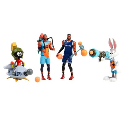"""Moose Toys, a leading innovator in the toy industry, in collaboration with Warner Bros. Consumer Products will have fans cheering with the introduction of an all-star line-up of products to celebrate the summer theatrical release of Warner Bros. Pictures' """"Space Jam: A New Legacy."""" There are four poseable figures, each with an accessory, to collect with Space Jam: A New Legacy Ballers Action Figures, including two of the film's star LeBron James, Bugs Bunny, and Marvin the Martian."""