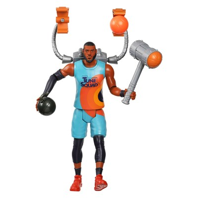 """Moose Toys, a leading innovator in the toy industry, in collaboration with Warner Bros. Consumer Products will have fans cheering with the introduction of an all-star line-up of products to celebrate the summer theatrical release of Warner Bros. Pictures' """"Space Jam: A New Legacy."""" Like the film, Space Jam: A New Legacy LeBron James Ultimate Tune Squad Action Figure comes ready to battle the Goon Squad. The 12-inch LeBron comes with four accessories and speaks several battle phrases and sounds."""