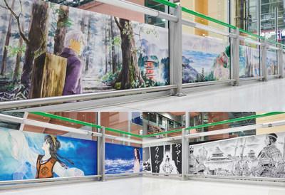 """""""A Rota da Peregrinação"""" de URUSHIHARA Yuki (acima), """"A Rota do Mar"""" de SATONAKA Machiko (parte inferior lado esquerdo), """"A Rota da Mitologia"""" de YASUHIKO Yoshikazu (parte inferior, lado direito) (PRNewsfoto/Agency for Cultural Affairs, Government of Japan CULTURE GATE to JAPAN Initiative)"""