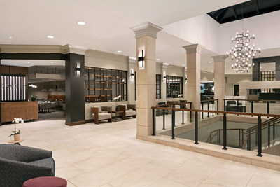 The recently renovated lobby of the Crowne Plaza Philadelphia - King of Prussia.