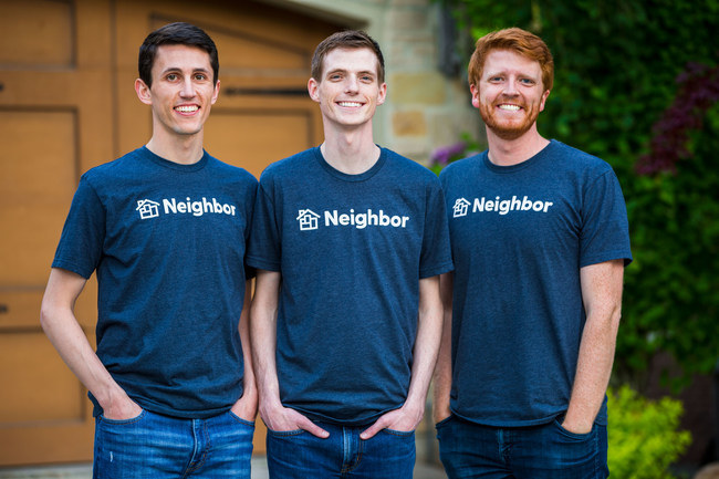 Neighbor's co-founders Joseph Woodbury, Colton Gardner and Preston Alder