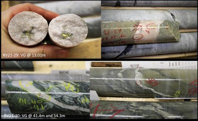 Figure 3: VG in core from RV21-29 and RV-21-30. (CNW Group/Trillium Gold Mines Inc.)