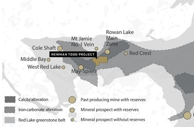 Figure 4: Location of the Rivard and Newman Todd Properties now owned 100% by Trillium Gold Mines, including producing and past producing mines, mineral prospects, as well as the Red Lake Greenstone belt, geology and alteration packages. (CNW Group/Trillium Gold Mines Inc.)