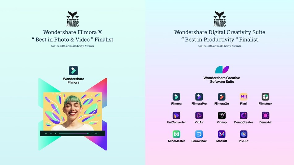 """Wondershare Selected as Finalist For """"Best in Photo & Video"""" and """"Best in Productivity"""" In the 13th Annual Shorty Awards"""