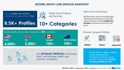 Snapshot of BizVibe's death care services industry group and product categories.