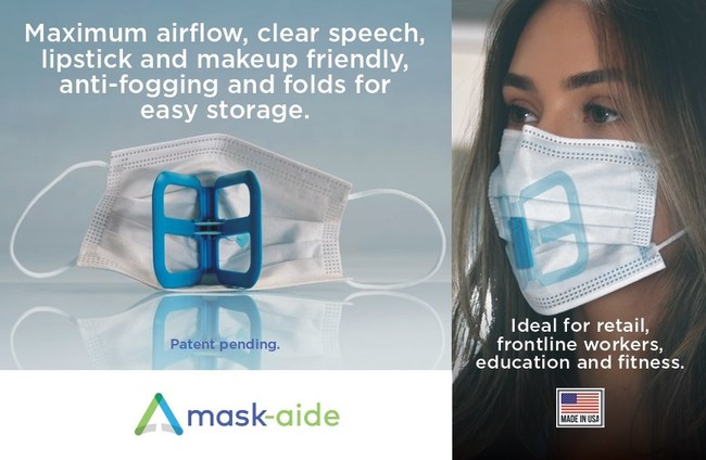 The new Mask-Aide™ features Patent pending technology that was designed for first respondents in mind, allows user to wear the mask for maximum air flow, easy breathing and comfort all day long. No more pulling away at the mask to allow air flow. Mask-Aide™ creates that space between the mouth and mask that allows all the air needed to breathe comfortably.