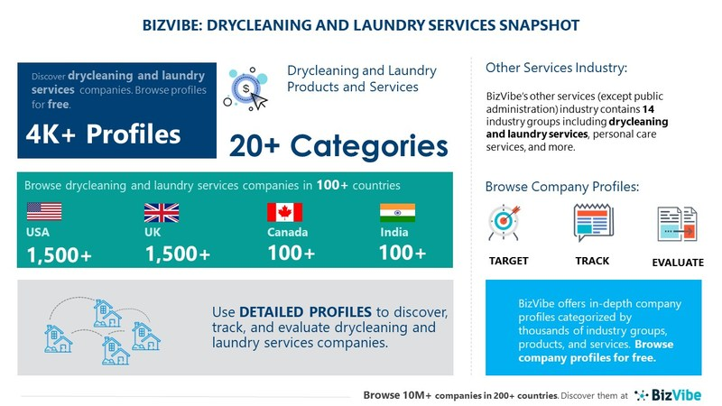 Snapshot of BizVibe's drycleaning and laundry services industry group and product categories.