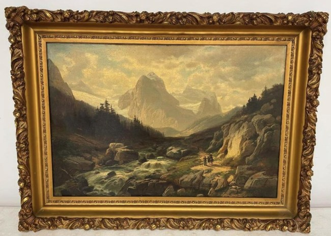 Framed oil painting, Walking Below the German Alps, signed lower right, Horst Hacker, Munich (Germany, 1842-1906)