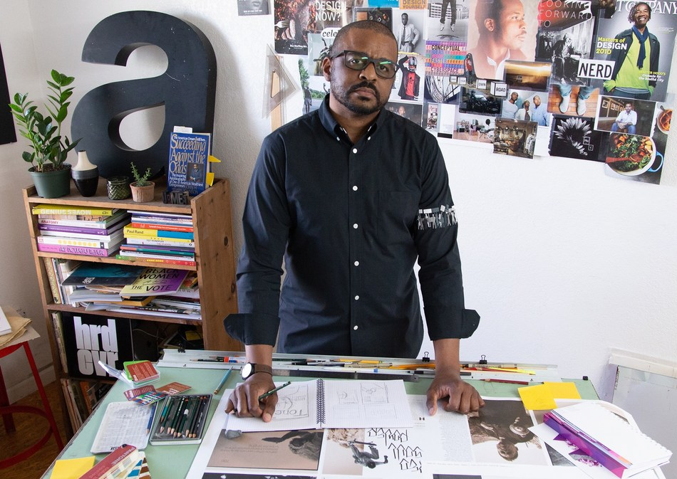 Umber Publishing Founder, Creative Director & Editor-in-Chief Mike Nicholls in his Oakland, CA office.  Photo Jon Crisp.
