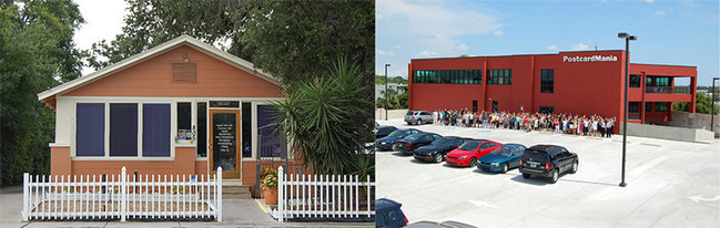 Then and now - PostcardMania's first office space on the left, a 600 sq. ft. cottage near downtown Clearwater. On the right, PostcardMania's current facilities, a 66,000 st. ft. custom-built building that is home to 295 staff, an in-house organic cafe, staff gym, a fleet of 5 commercial printing presses and now the first-ever national Top Workplaces Woman-Led Culture Excellence Award.