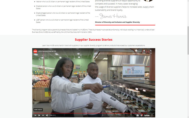 Helen Callier, President of PermitUsNow and Moruf Jimoh, AAIA, Technical Manager, Permit Us Now assessing meal simple layout at HEB Plus Grocery Store in Texas Hill Country
