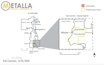Del Carmen Royalty Map (CNW Group/Metalla Royalty and Streaming Ltd.)