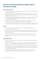 Summary of Proposed Grocery Supply Code of Practice for Canada (CNW Group/Empire Company Limited)