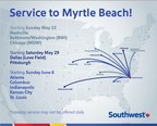 Book Today: Southwest Airlines Takes Off For Myrtle Beach, S.C, Beginning May 23; Fares As Low As $69 One-Way, And Golf Bags Fly Free!*