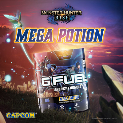 G FUEL and CAPCOM created Mega Potion in celebration of CAPCOM's upcoming game Monster Hunter Rise, which releases on March 26th. G FUEL Mega Potion is now available for pre-order in 40-serving tubs at gfuel.com/products/mega-potion-tub through March 26th and will start shipping in late April.