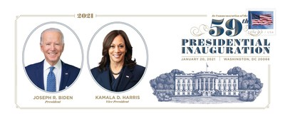Commemorative 2021 Presidential souvenir envelope featuring President Joseph R. Biden and Vice President Kamala D. Harris available today for purchase through the Postal Service's online Postal Store.