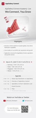 Agenda de la AppGallery Connect Academy · Live el 31 de marzo