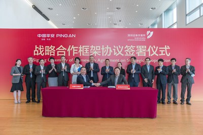 Ye Wangchun, Chairman and CEO of OneConnect (left) and Li Hui, Deputy General Manager of SZSE (right), signed the strategic cooperation framework agreement on behalf of the two parties.