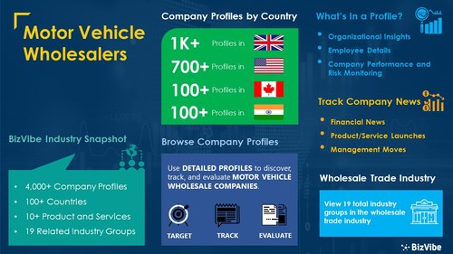 Snapshot of BizVibe's motor vehicle wholesalers industry group and product categories.